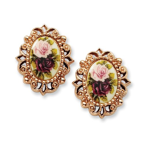 1928 Boutique Rose-tone Floral Decal Oval Post Earrings
