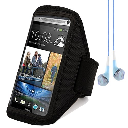 Active Sport Armband Pouch Case For Htc One Max 5.9 Inch (Black) + Blue Vangoddy Headset With Mic