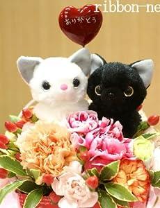 ミルクBOXフラワーアレンジメント(生花)・黒猫&白猫 FL-MD-951