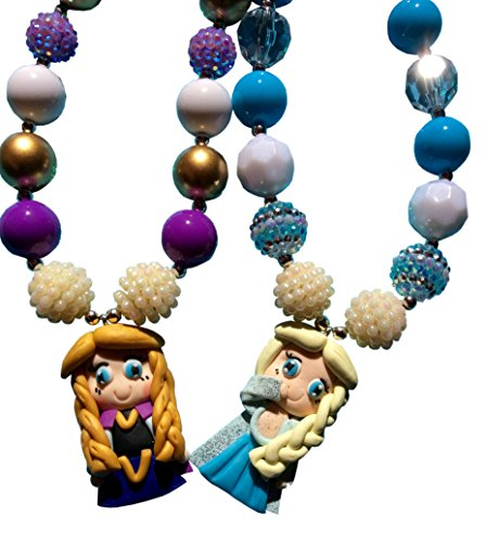 Elsa and Anna inspired Necklaces Set of Two Great for Costume and Dress up