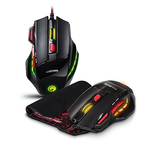 Marvo M-315 Fire Key Total 7 Button USB Ergonomic Wired Gaming Mouse and Mouse Pad 3-Color LED Light PC Mouse For PC/Laptops/Computer
