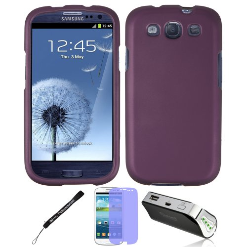 Purple 2 Piece Cover Shield Protector For Samsung Galaxy S Iii 3 + Battery Power Bank Charger + Screen Protector + Determination Hand Strap