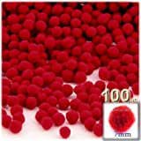 The Crafts Outlet 100-Piece Multi purpose Pom Poms, Acrylic, 7mm/0.28-inch, round, Red