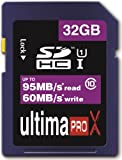 Memzi 32GB Class 10 Ultima Pro X 95MB/s Read - 60MB/s Write SDHC Memory Card for Sony Cyber-shot DSC-HX Series Digital Cameras