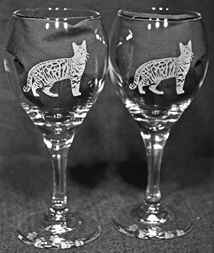 Bengal Cat Laser Etched Wine Glass Set (2, TDW)