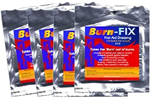 Burn-FIX-4 Pack-Burn Care Treatment & First Aid Hydrogel Burn Dressing. Immediate Pain Relief Gel/Cream For First & Second Degree Burns, Chemical Burns, Electrical Burns, Grease Burns, Razor Burns and Sunburns. For First Aid Kits At Home, Boat, Camp, Hike and All EMS/RESCUE. 100% GUARANTEE!