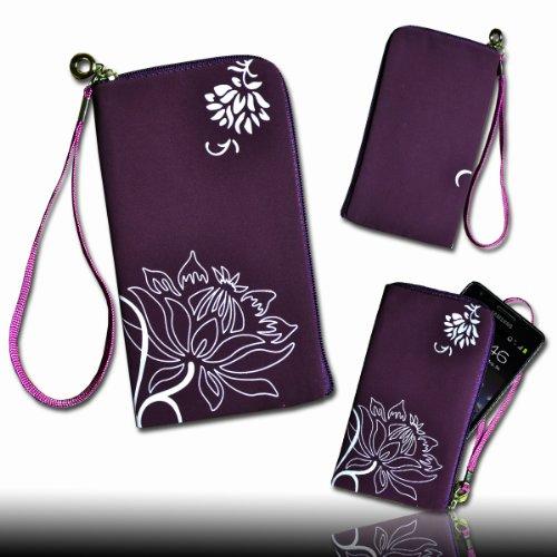 Handy Tasche lila/violett/weiß L1 für Samsung C3312 Rex60 / S5222R Rex80 / Galaxy Young S6310 / Galaxy Young Duos S6312 / Galaxy Pocket Plus S5301 / Samsung Galaxy Pocket Neo S5310 / Alcatel OT 903D / Alcatel OT Star 6010D