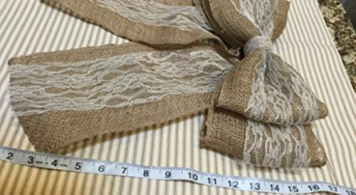 12 Quot Wide Burlap And Ivory Lace Pew Bow Chair Decor Wedding