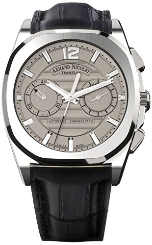 Armand Nicolet Unisex Automatic Watch with Grey Dial Chronograph Display and Black Leather Strap A654AAA-GR-PI4650NA