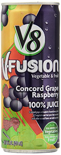 V8 V-Fusion Concord Grape Raspberry 100% Juice, Six 8 Ounce Cans (Pack Of 4)