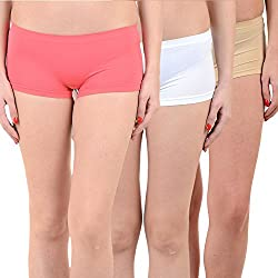Mynte Women's Sports Shorts (MEWIWCMBP-SHR-102-101-96, Pink, White, Beige, Free Size, Pack of 3)