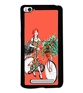 Girl with Flowers on Cycle 2D Hard Polycarbonate Designer Back Case Cover for Xiaomi Mi 4i :: Xiaomi Redmi Mi 4i