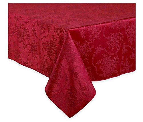 Poinsettia and holly jacquard vinyl flannel back for Tablecloth 52 x 120