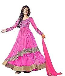 Women Net Anarkali Dress Material (Riya Sen Pink _Pink _Free Size)