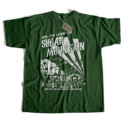 Old Skool Hooligans Inspired By Neil Young T Shirt-Sugar Mountain verde L