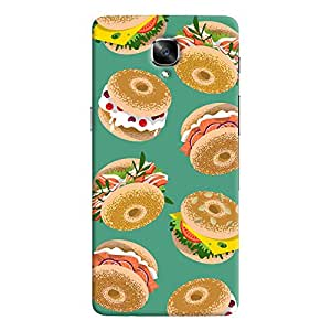 ColourCrust OnePlus 3 Mobile Phone Back Cover With Burger For Foodies Pattern Style - Durable Matte Finish Hard Plastic Slim Case