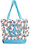 Zebra Damask Peace Polkadot Tote Bag