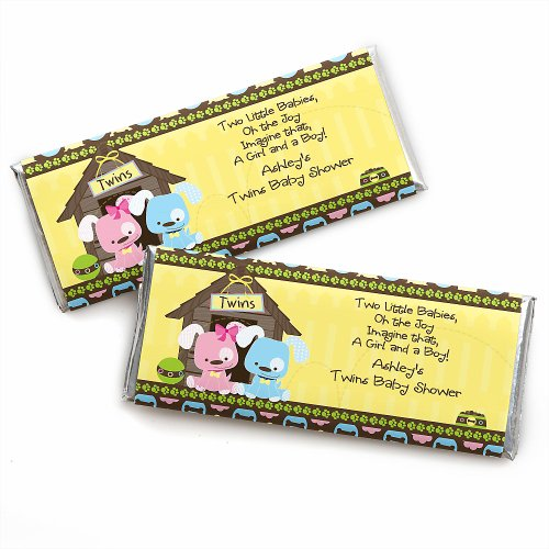 Twin Puppy Dogs 1 Boy & 1 Girl - Personalized Baby Shower Candy Bar Wrapper Favors front-114879