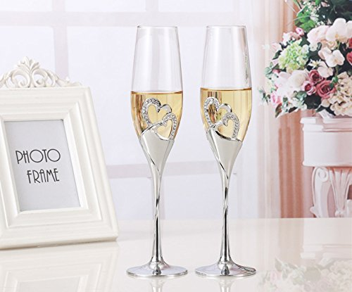 2 PCs / set Champagne Grillage Verres en Forme de Coeur - Cadeau Mariage