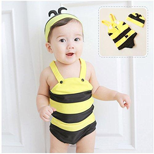 Auralum 超かわいいミツバチベビー水着M/L/XLサイズ 男の子も女の子もOK 子供用水着 みつばち 蜜蜂 赤ちゃん 子供水着 キッズ水着 スクール水着 女の子 ノースリーブ 女子水着 スイムウェア みずぎ ジュニア水着