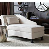 Storage Chaise Lounge Chair -This Microfiber Upholstered Lounger Is Perfect for Your Home or Office - Put This Accent Sofa Furniture in the Bedroom or Living Room - Gift - Free Decor Pillow! (Grey)