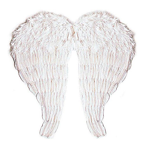 Large Bendable Fairy Angel White Feather Wings 67x64cm Fancy Dress Costume