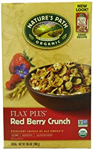 Nature's Path Organic Flax Plus Red Berry Crunch Cereal, 10.6-Ounce Boxes (Pack of 6)