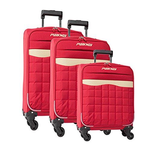 lot de 3 valises-chariots 4 roues - système trolley intérieur - entièrement doublé