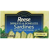 Reese Skinless and Boneless Sardines in Water,Low Sodium,  4.375-Ounce Cans (Pack of 10)