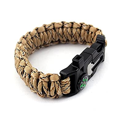 550 Paracord Survival Bracelet/Emergency Kit with 15 Tools, Freehawk® Outdoor Parachute Cord Wristband/Para Cord Survival Kit Gear Compass Flint Fire Starter Scraper Whistle for Camping,Hiking,Fishing by Freehawk