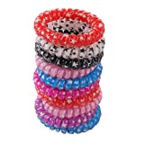 Wowlife Style Accessories - 10pcs Plastic Stretchy Elastic Coiled Phone Wire Hair Bands Hair Tie Ponytail Holder Band Multi-color Telephone Wire Cord Elastic Head Tie Hair Band, Color Random