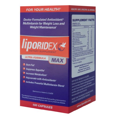 Liporidex MAX - Ultra Formula Weight Loss Supplement Fat Burner & Appetite Suppressant - The easy way to lose weight fast! - 100 rapid release caps - 1 Box.