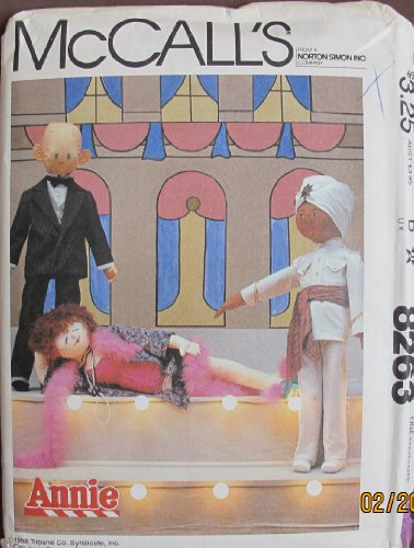 McCall's Pattern Little Orphan ANNIE MOVIE DOLLS Patterns: Daddy Warbucks, Miss Hannigan & Punjab: Each 40.5