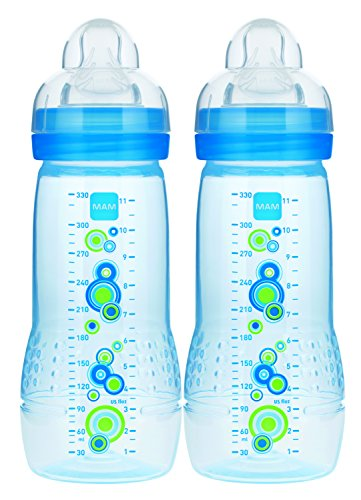 MAM Baby Bottle, Blue, 11 Ounce, 2-Count, (designs may vary)