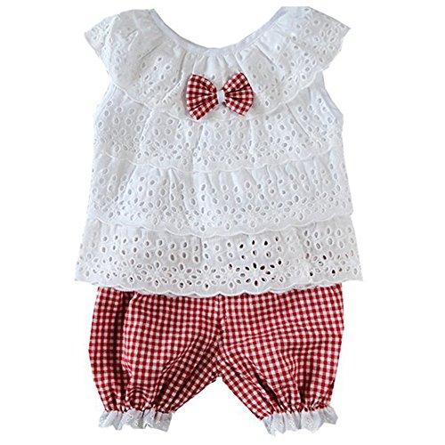 Urparcel Baby Girls Lace Top Hollow Out T-shirt Vest Plaid Shorts Outfits Sets