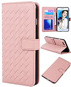 iPhone 6 Plus Wallet Case, Crosspace Textured Flip PU Leather Shell Weave Handbag Detachable Magnetic with Card Holder Wrist Strap for Apple Iphone 6/6s Plus 5.5 -for Christmas Day Gifts (Pink)