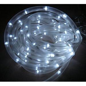 Outdoor Christmas Lights White Solar Rope Tube 50 Led