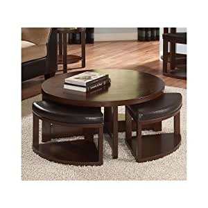 Round Coffee Table Set Ottomans Cocktail Table With Stools Faux Leather Black