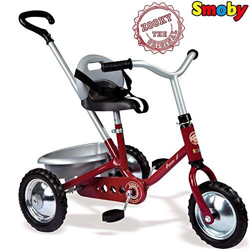 Metall Dreirad Zooky Rot mit Kettenantriebe und höhenverstellbarer Sitz || Ketten-Dreirad Trike Kinderdreirad Kinder Baby Schubstange Schiebestange