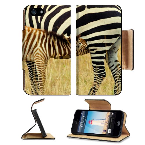 Animal Zebra Wildlife Calf Feeding Pattern Baby Africa Grassland Black White Apple Iphone 5 / 5S Flip Cover Case With Card Holder Customized Made To Order Support Ready Premium Deluxe Pu Leather 5 3/16 Inch (132Mm) X 2 11/16 Inch (68Mm) X 9/16 Inch (14Mm) front-1060946