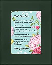 Mother\'s Day Gift for Mom, Best Mom Ever Poem 8x10 Single Matted Poetry Gift for Mom or Grandma Dark Green Mat
