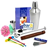 Drinkstuff Cocktail Set with Cocktail Shaker | in Recyclable Gift Box, includes Cocktail Book, Mixing Spoon, Jigger Measure, Pourer, Muddler, 25x Swizzle Stick Stirrers, 24x Cocktail Umbrellas & 10x Indoor Sparklers | bar@drinkstuff Cocktail Makingby bar@drinkstuff