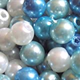 100 pieces 6mm Glass Pearl Beads - Blue Mix - A0982