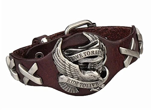 BIKER BRACELET LIVE To RIDE, AMERICAN EAGLE LEATHER BRACELET
