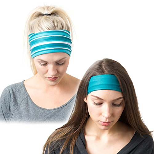 RiptGear Running Headbands Teal Solid and Striped
