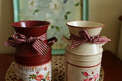 VANCORE(TM) French Style Rustic Shabby Chic Mini Metal Vase Holder Can Container with Tied Bands and Flower Decoration 2