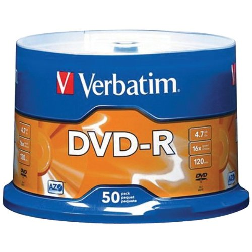 Verbatim 4.7 Gb Up To 16X Branded Recordable Disc Azo Dvd-R 50-Disc Spindle 95101