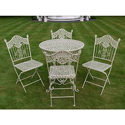 Shabby chic antique cream garden furniture wrought iron patio set Vintage metal garden furniture