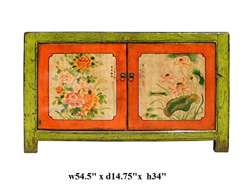 Chinese Lime Green Orange Flower Side Table Cabinet Acs1346 5