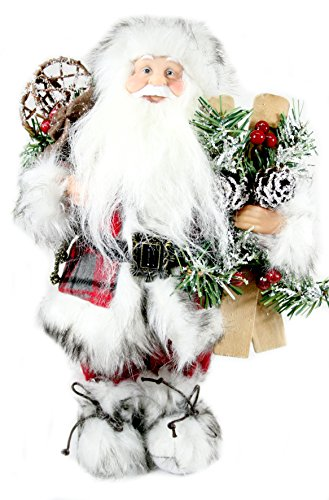 Woodland-Santa-Claus-Figurines-13-Tall-Red